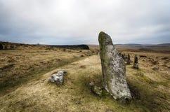 在Dartmoor的Scorehill石圈子 免版税库存图片