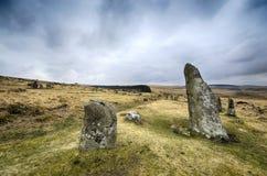 在Dartmoor的Scorehill石圈子 免版税库存照片