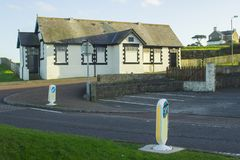 在Seacliff路的老市政维多利亚女王时代的洗手间块在曼格唐郡现在北爱尔兰被转换成时髦 库存照片