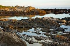 在Seaview,伊莉莎白港,南非的金黄rockpools 免版税库存图片