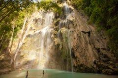 在Sebu海岛,菲律宾上的Tumalog瀑布 库存照片