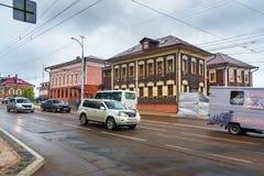 在Sedova街道上的老木房子 伊尔库次克俄国 免版税库存图片