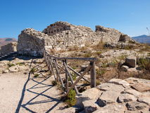 在Segesta,西西里岛,意大利的城堡 免版税库存照片