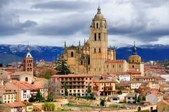 Segovia,西班牙: 大教堂和市中心 免版税库存照片