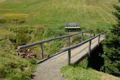 在Seiser Alm的小步行桥在意大利白云岩 库存图片