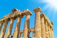 在Selinunte的寺庙E在西西里岛是希腊寺庙多立克体 免版税图库摄影