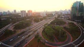 在Semanggi跨线桥的空中中止行动英尺长度 股票视频