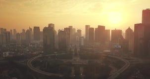 在Semanggi CBD附近的雅加达都市风景在黄昏 股票视频