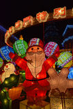 在Senado广场澳门中国的五颜六色的圣诞节灯笼装饰 免版税库存照片