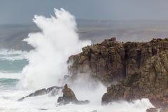 在Sennen小海湾的康沃尔风暴 免版税图库摄影