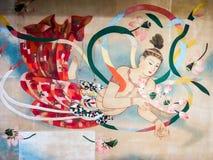 在Sensoji寺庙,东京,日本的美好的天使绘画 免版税库存图片
