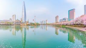 在Seokchon湖4月17日的樱花节日 免版税库存照片