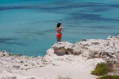 在Ses Illetes海滩 库存图片