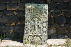 Khachkar或跨石头 图库摄影