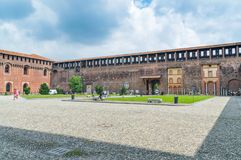 在Sforza城堡Castello里面 库存图片