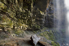 在Sgwd Henrhyd后的小径;henrhyd瀑布 图库摄影