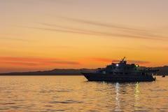 在Sharm El谢赫海湾的日落  库存照片