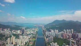在Shatin, Tai Wai,城门河的空中panarama视图 在台风Mangkhut前来到香港 股票视频
