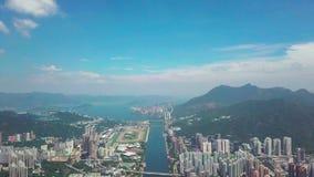 在Shatin, Tai Wai,城门河的空中panarama视图 在台风Mangkhut前来到香港 股票录像