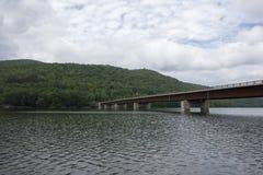 在Shavertown桥梁的Pepacton水库 库存图片