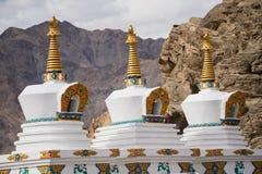 在Shey宫殿Leh拉达克,印度的Stupa 库存照片