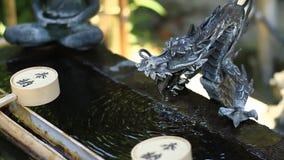 在Shinagawa寺庙的洗净低谷在东京特写镜头 影视素材