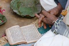 在Shivaratri节日,尼泊尔期间,一位印度教士读佛经 免版税库存照片
