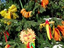 在Shrovetide的装饰,俄罗斯传统,俄国Maslenitsa 库存照片