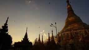 在Shwedagon塔后的日落在仰光 图库摄影