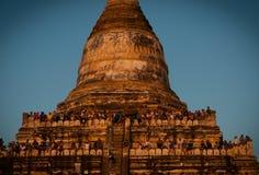 在Shwesandaw塔的人观看的日落  库存照片