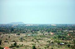 在Siemreap市顶部的看法在柬埔寨在早晨 免版税库存图片