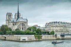 在Siene的Notre Dame,巴黎,法国 库存图片