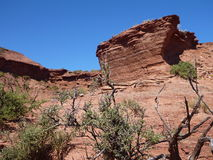 在sierra de las quijadas的红色岩层在阿根廷 库存照片