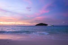 在Similan海岛,泰国的日落时间 图库摄影