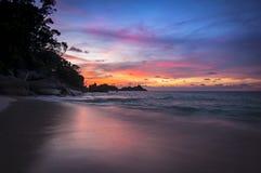 在Similan海岛,泰国的日落 免版税库存图片