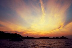 在Similan的日落 库存图片