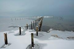 在sjoelund冬天附近的丹麦kolding横向 库存照片