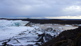 在Skaftafell附近的Svinafellsjokul冰川在东部海湾在冰岛 库存图片