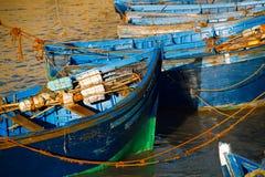 在Skala du Port的小船在索维拉,摩洛哥 免版税库存照片