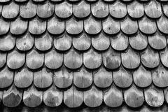 在Skansen的鱼鳞木屋顶 库存图片