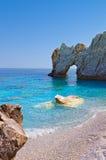 在Skiathos海岛,希腊的Lalaria海滩 库存照片