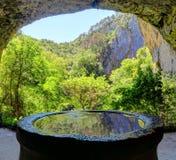 在Skocjan洞里面的喷泉,一个UNESCO's自然和cultu 免版税库存照片