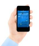 在smartphone的股市应用 库存图片
