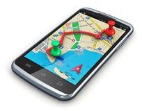 在smartphone的GPS定位 库存照片