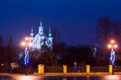 在Smolensky大教堂,圣彼得堡的夜视图 库存图片