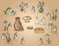 在snowdrops手拉的五颜六色的例证中的春天传统食物 向量例证