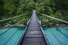 在Soca河的桥梁在特里格拉夫峰国家公园,斯洛文尼亚 库存照片