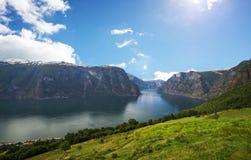 在Sogn和Fjordane挪威的Aurland 免版税库存图片