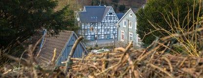 在solingen德国附近的古镇城镇 免版税图库摄影