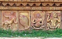 在Somapura Mahavihara废墟的安心在Paharpur,孟加拉国 库存照片